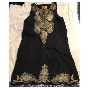 Black dress with gold embroidery